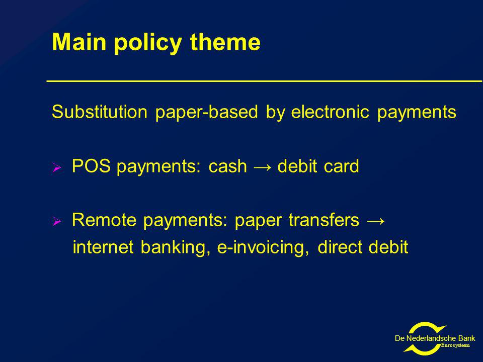 De Nederlandsche Bank Eurosysteem Main policy theme Substitution paper-based by electronic payments POS payments: cash debit card Remote payments: paper transfers internet banking, e-invoicing, direct debit