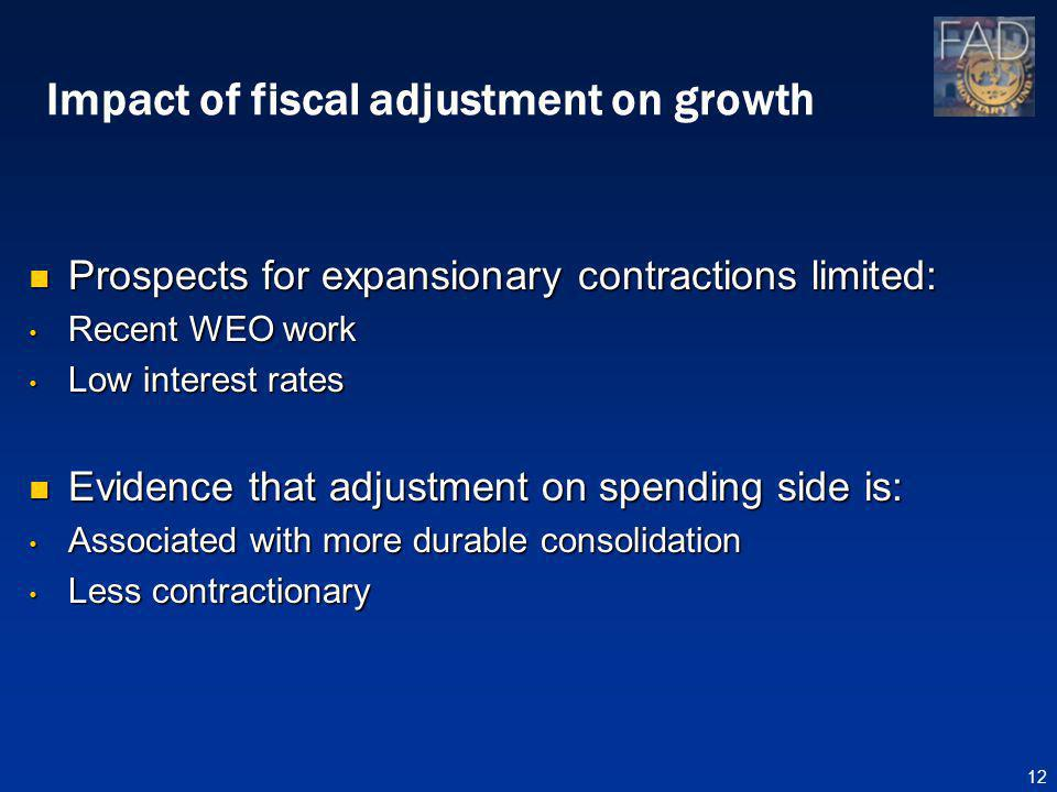 Impact of fiscal adjustment on growth Prospects for expansionary contractions limited: Prospects for expansionary contractions limited: Recent WEO work Recent WEO work Low interest rates Low interest rates Evidence that adjustment on spending side is: Evidence that adjustment on spending side is: Associated with more durable consolidation Associated with more durable consolidation Less contractionary Less contractionary 12