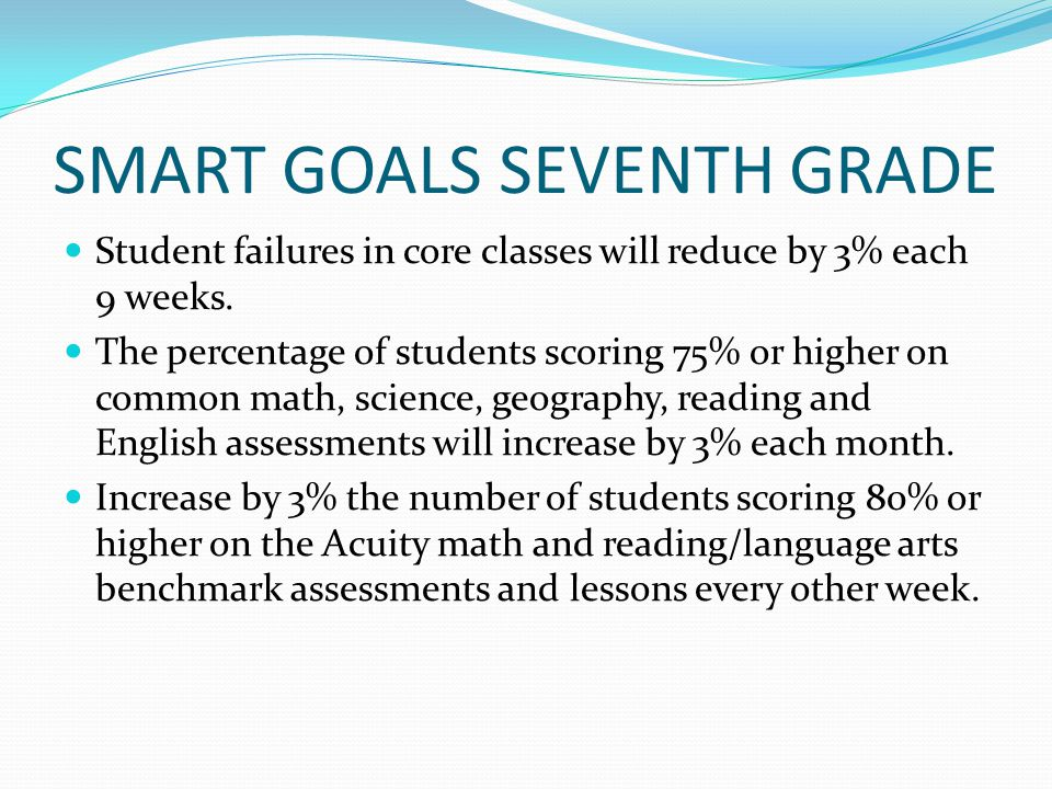 SMART GOALS SEVENTH GRADE Student failures in core classes will reduce by 3% each 9 weeks.