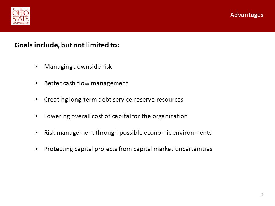 Advantages 3 Goals include, but not limited to: Managing downside risk Better cash flow management Creating long-term debt service reserve resources Lowering overall cost of capital for the organization Risk management through possible economic environments Protecting capital projects from capital market uncertainties