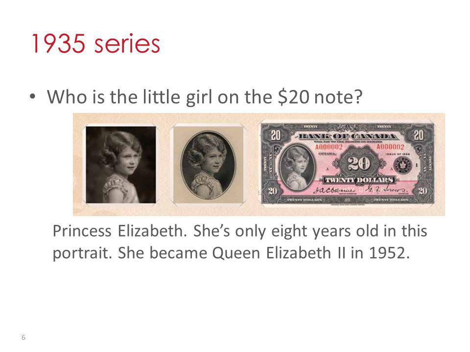 1935 series Who is the little girl on the $20 note.