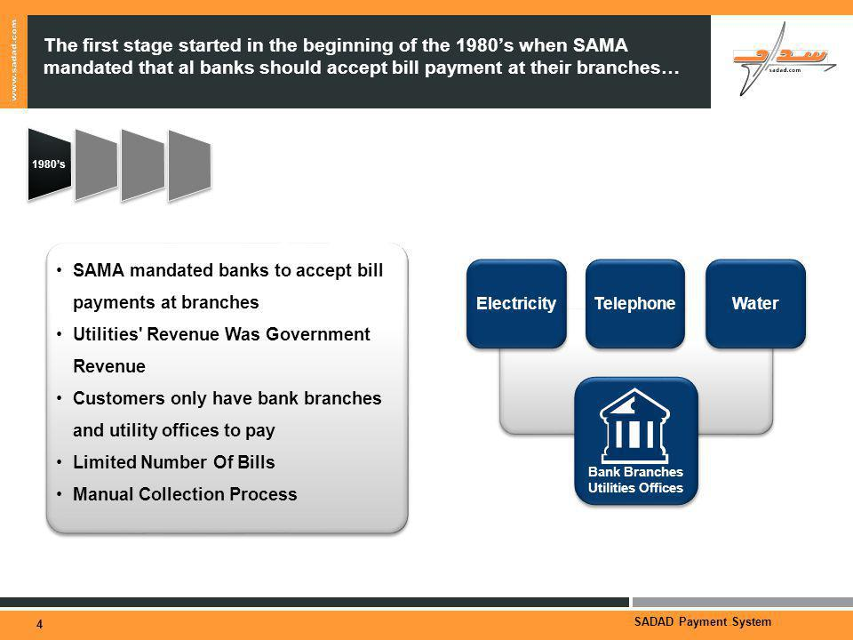 SADAD Payment System The first stage started in the beginning of the 1980s when SAMA mandated that al banks should accept bill payment at their branches… 4 1980s SAMA mandated banks to accept bill payments at branches Utilities Revenue Was Government Revenue Customers only have bank branches and utility offices to pay Limited Number Of Bills Manual Collection Process SAMA mandated banks to accept bill payments at branches Utilities Revenue Was Government Revenue Customers only have bank branches and utility offices to pay Limited Number Of Bills Manual Collection Process Electricity Telephone Water Bank Branches Utilities Offices Bank Branches Utilities Offices