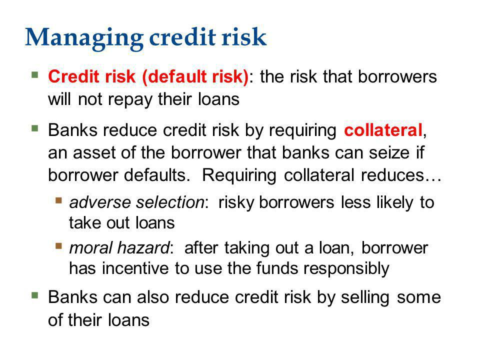 Managing credit risk Credit risk (default risk): the risk that borrowers will not repay their loans Banks reduce credit risk by requiring collateral, an asset of the borrower that banks can seize if borrower defaults.