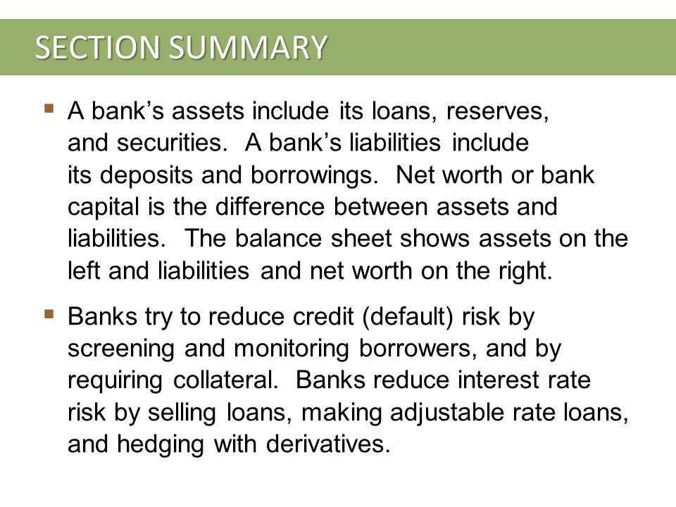 SECTION SUMMARY A banks assets include its loans, reserves, and securities.