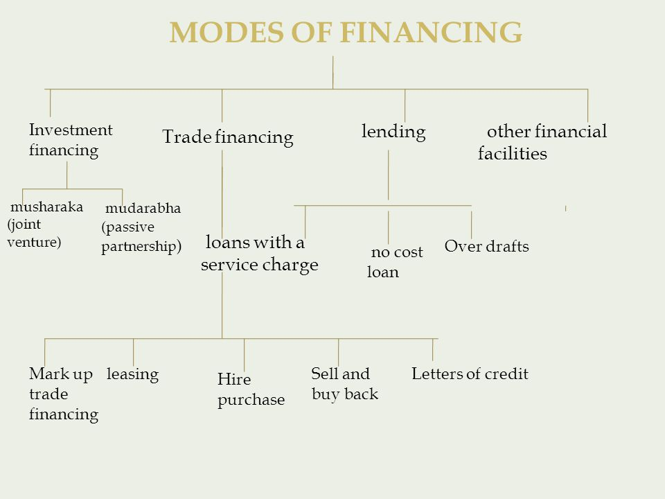 Investment financing Trade financing lending other financial facilities loans with a service charge no cost loan Over drafts musharaka (joint venture) mudarabha (passive partnership ) Mark up trade financing leasing Hire purchase Sell and buy back Letters of credit MODES OF FINANCING