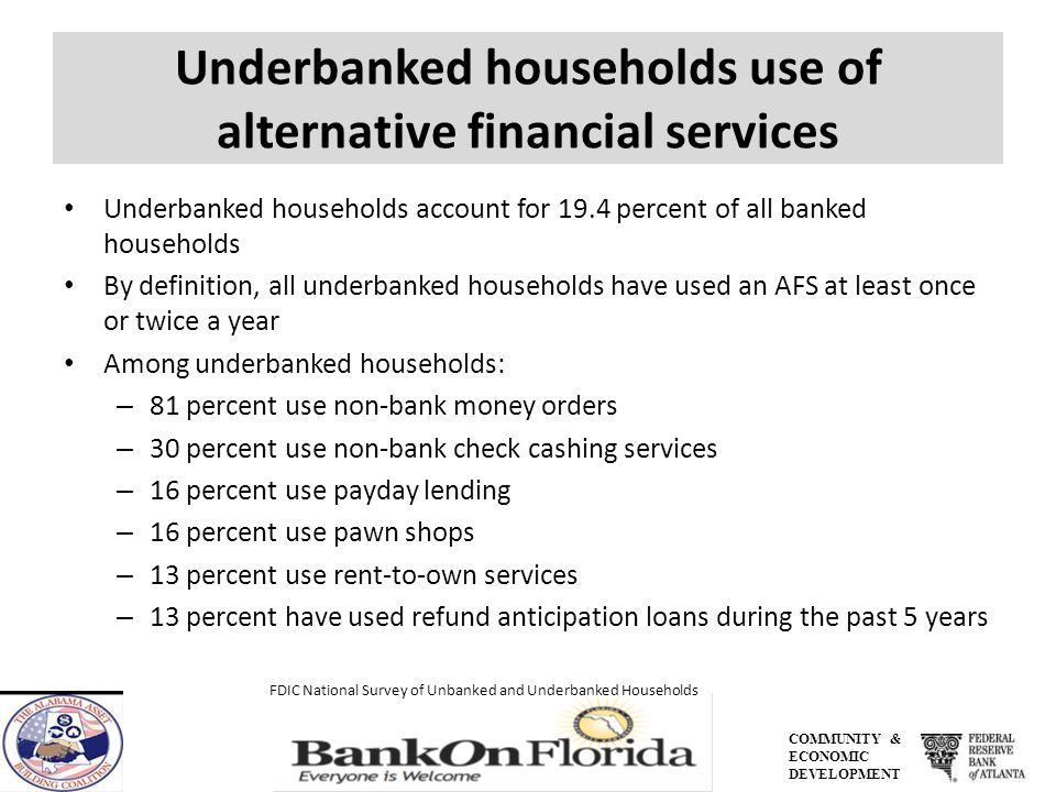 COMMUNITY & ECONOMIC DEVELOPMENT Underbanked households use of alternative financial services Underbanked households account for 19.4 percent of all banked households By definition, all underbanked households have used an AFS at least once or twice a year Among underbanked households: – 81 percent use non-bank money orders – 30 percent use non-bank check cashing services – 16 percent use payday lending – 16 percent use pawn shops – 13 percent use rent-to-own services – 13 percent have used refund anticipation loans during the past 5 years FDIC National Survey of Unbanked and Underbanked Households