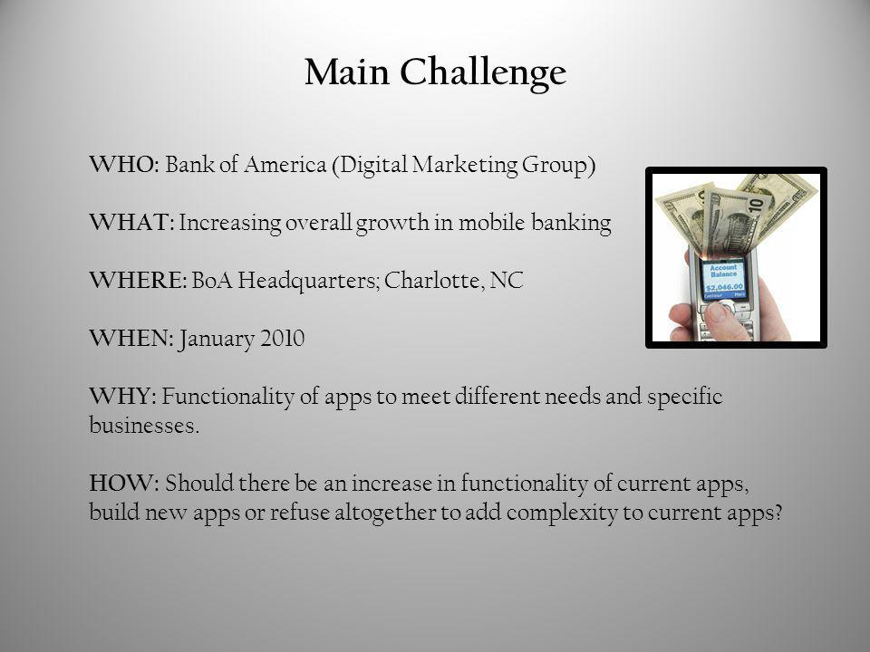 Main Challenge WHO: Bank of America (Digital Marketing Group) WHAT: Increasing overall growth in mobile banking WHERE: BoA Headquarters; Charlotte, NC WHEN: January 2010 WHY: Functionality of apps to meet different needs and specific businesses.