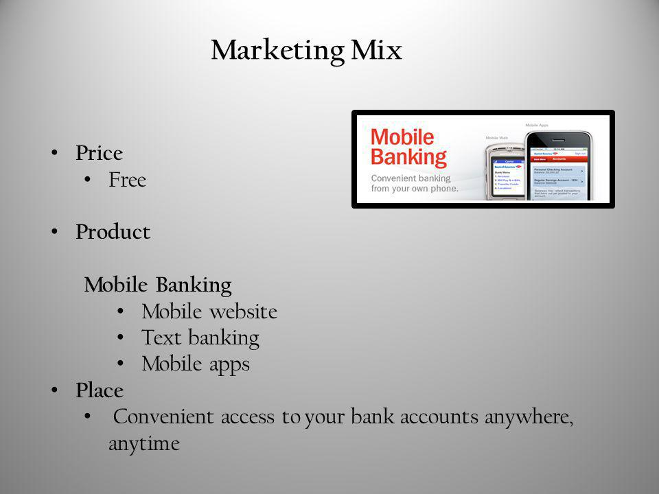 Price Free Product Mobile Banking Mobile website Text banking Mobile apps Place Convenient access to your bank accounts anywhere, anytime Marketing Mix