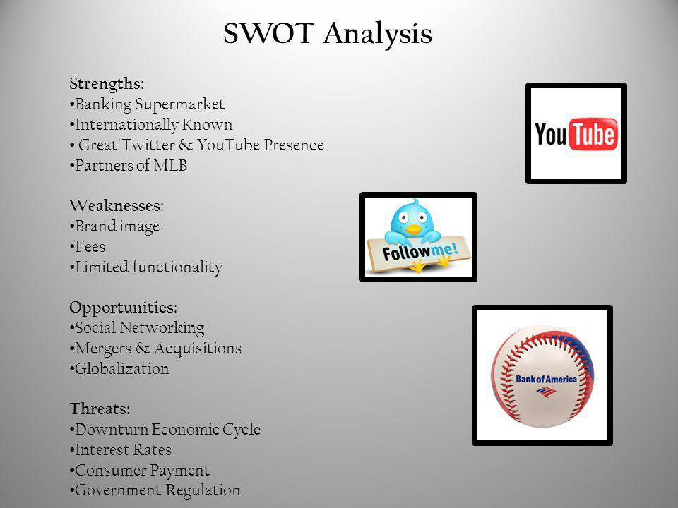 SWOT Analysis Strengths: Banking Supermarket Internationally Known Great Twitter & YouTube Presence Partners of MLB Weaknesses: Brand image Fees Limited functionality Opportunities: Social Networking Mergers & Acquisitions Globalization Threats: Downturn Economic Cycle Interest Rates Consumer Payment Government Regulation