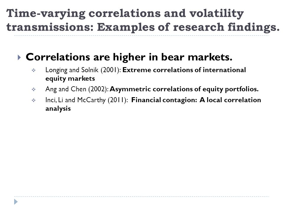 Time-varying correlations and volatility transmissions: Examples of research findings.