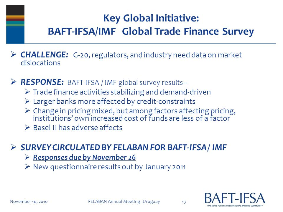 Key Global Initiative: BAFT-IFSA/IMF Global Trade Finance Survey CHALLENGE: G-20, regulators, and industry need data on market dislocations RESPONSE: BAFT-IFSA / IMF global survey results-- Trade finance activities stabilizing and demand-driven Larger banks more affected by credit-constraints Change in pricing mixed, but among factors affecting pricing, institutions own increased cost of funds are less of a factor Basel II has adverse affects SURVEY CIRCULATED BY FELABAN FOR BAFT-IFSA / IMF Responses due by November 26 New questionnaire results out by January 2011 November 10, 201013FELABAN Annual Meeting--Uruguay