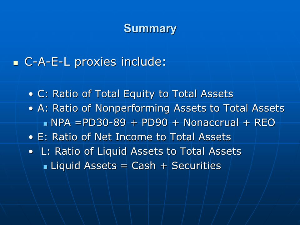 Summary C-A-E-L proxies include: C-A-E-L proxies include: C: Ratio of Total Equity to Total AssetsC: Ratio of Total Equity to Total Assets A: Ratio of Nonperforming Assets to Total AssetsA: Ratio of Nonperforming Assets to Total Assets NPA =PD30-89 + PD90 + Nonaccrual + REO NPA =PD30-89 + PD90 + Nonaccrual + REO E: Ratio of Net Income to Total AssetsE: Ratio of Net Income to Total Assets L: Ratio of Liquid Assets to Total Assets L: Ratio of Liquid Assets to Total Assets Liquid Assets = Cash + Securities Liquid Assets = Cash + Securities