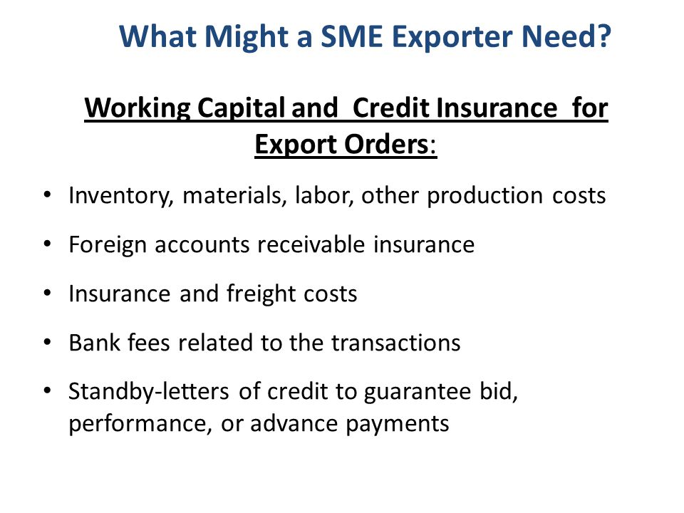 What Might a SME Exporter Need.