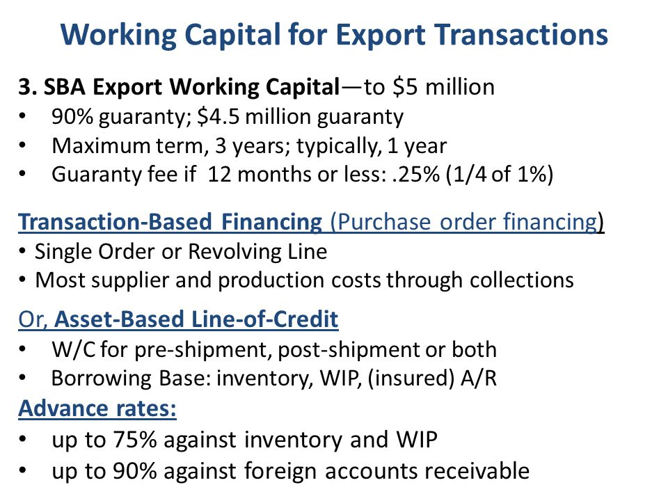 Working Capital for Export Transactions 3.