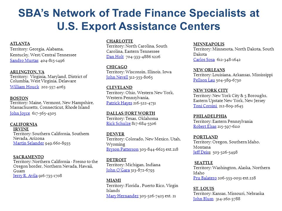 SBAs Network of Trade Finance Specialists at U.S.