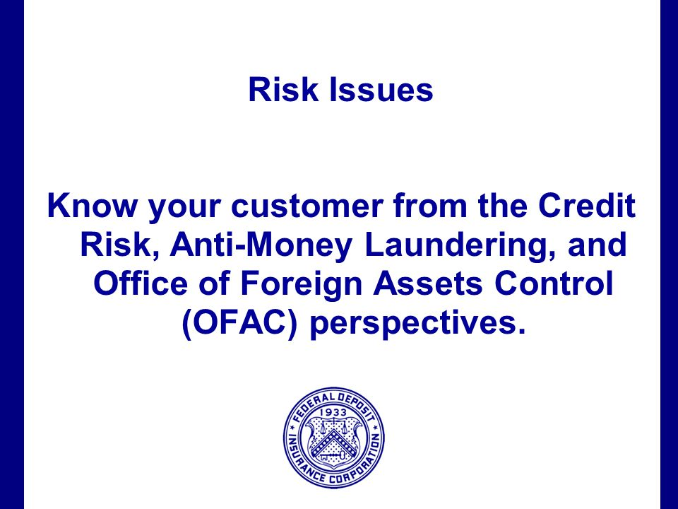 Filename 63 Risk Issues Know your customer from the Credit Risk, Anti-Money Laundering, and Office of Foreign Assets Control (OFAC) perspectives.