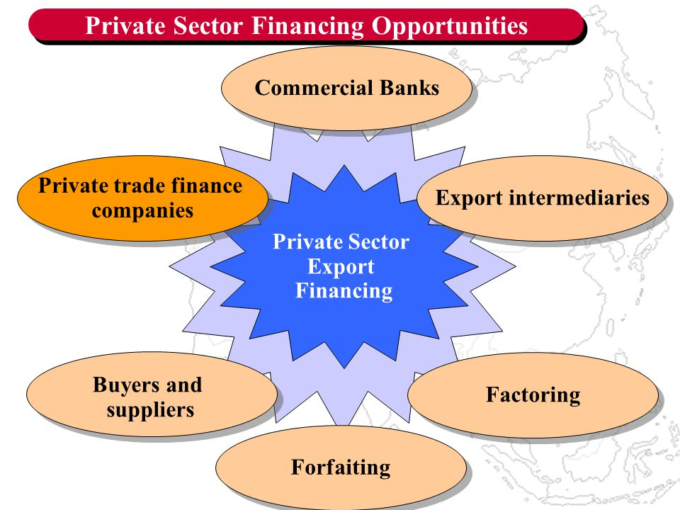 Private Sector Financing Opportunities Private Sector Export Financing Export intermediaries Private trade finance companies Private trade finance companies Factoring Buyers and suppliers Forfaiting Commercial Banks