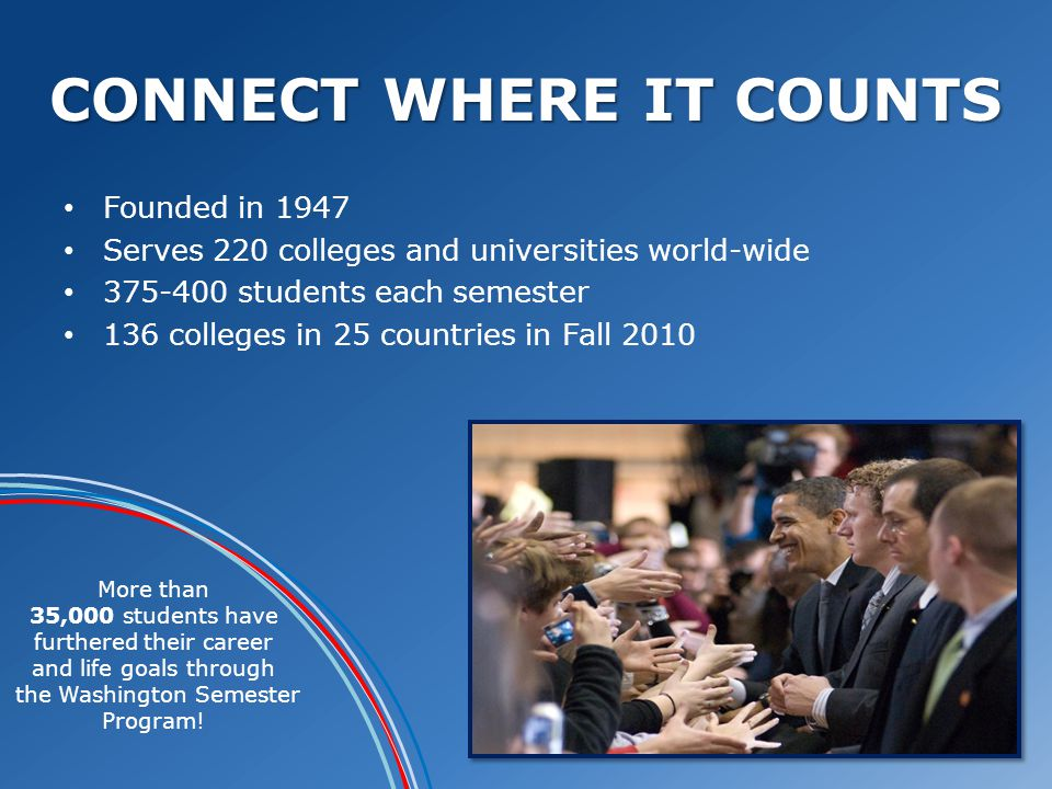 CONNECT WHERE IT COUNTS Founded in 1947 Serves 220 colleges and universities world-wide 375-400 students each semester 136 colleges in 25 countries in Fall 2010 More than 35,000 students have furthered their career and life goals through the Washington Semester Program!