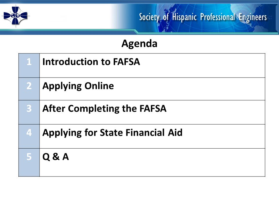 Agenda 1Introduction to FAFSA 2Applying Online 3After Completing the FAFSA 4Applying for State Financial Aid 5Q & A