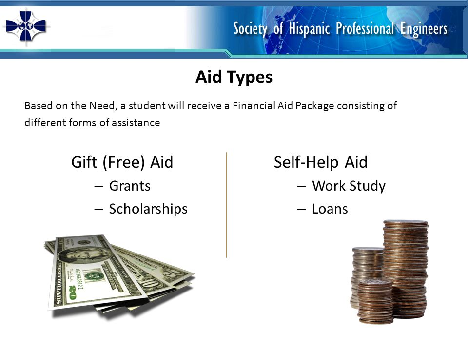 Based on the Need, a student will receive a Financial Aid Package consisting of different forms of assistance Gift (Free) Aid – Grants – Scholarships Self-Help Aid – Work Study – Loans Aid Types