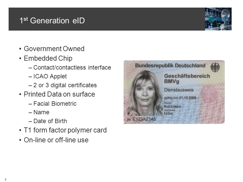 1 st Generation eID Government Owned Embedded Chip –Contact/contactless interface –ICAO Applet –2 or 3 digital certificates Printed Data on surface –Facial Biometric –Name –Date of Birth T1 form factor polymer card On-line or off-line use 6