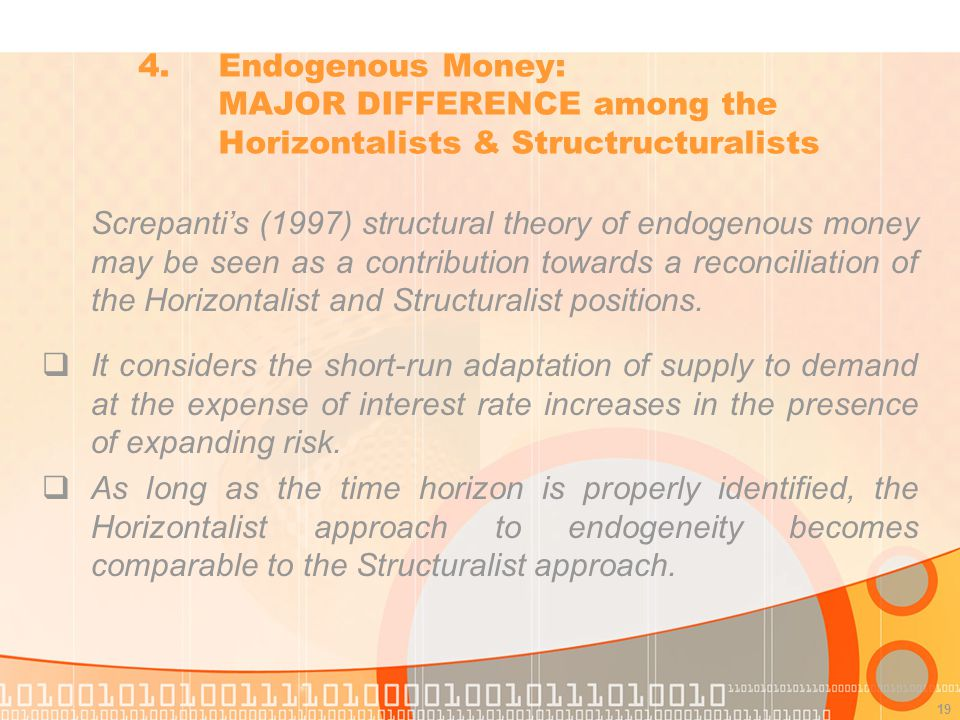 19 Screpantis (1997) structural theory of endogenous money may be seen as a contribution towards a reconciliation of the Horizontalist and Structuralist positions.