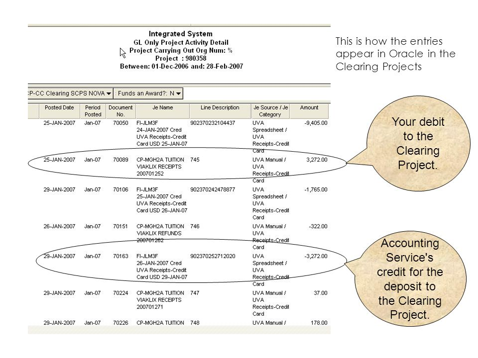 Your debit to the Clearing Project.
