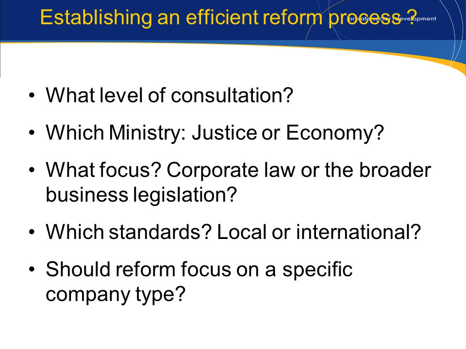 Establishing an efficient reform process . What level of consultation.