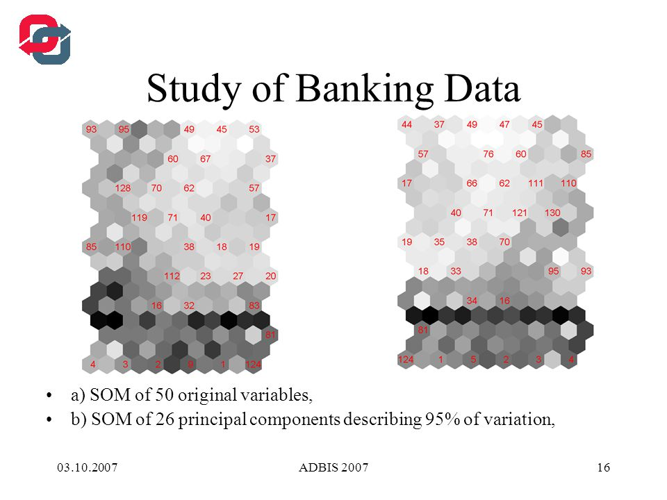 03.10.2007ADBIS 200716 Study of Banking Data a) SOM of 50 original variables, b) SOM of 26 principal components describing 95% of variation,