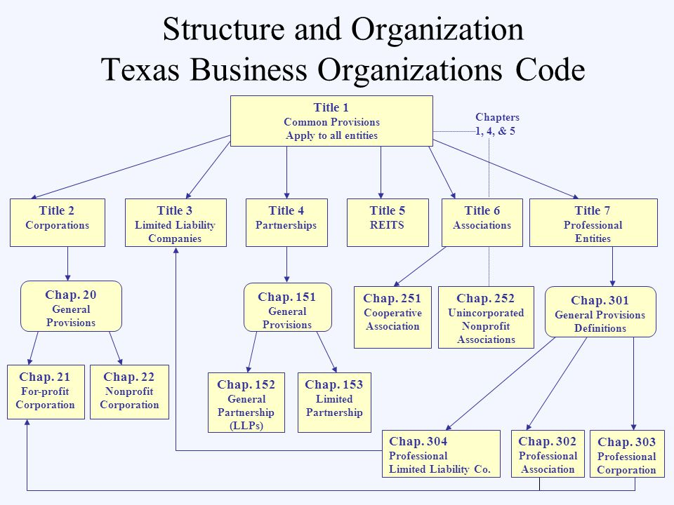 Structure and Organization Texas Business Organizations Code Title 3 Limited Liability Companies Title 5 REITS Chapters 1, 4, & 5 Chap.