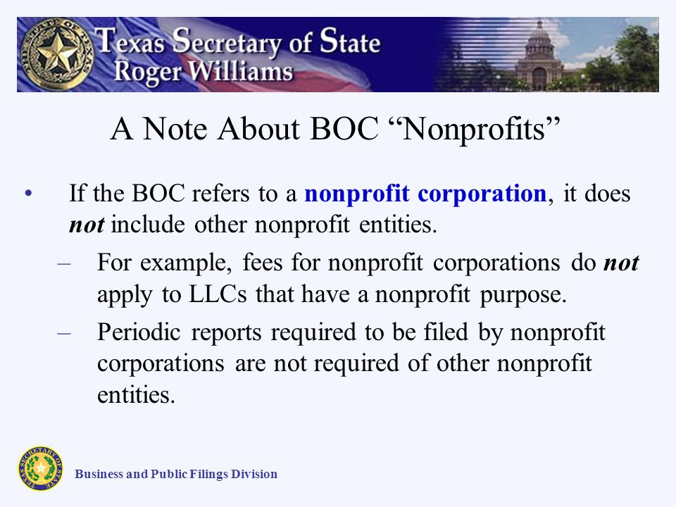 A Note About BOC Nonprofits If the BOC refers to a nonprofit corporation, it does not include other nonprofit entities.
