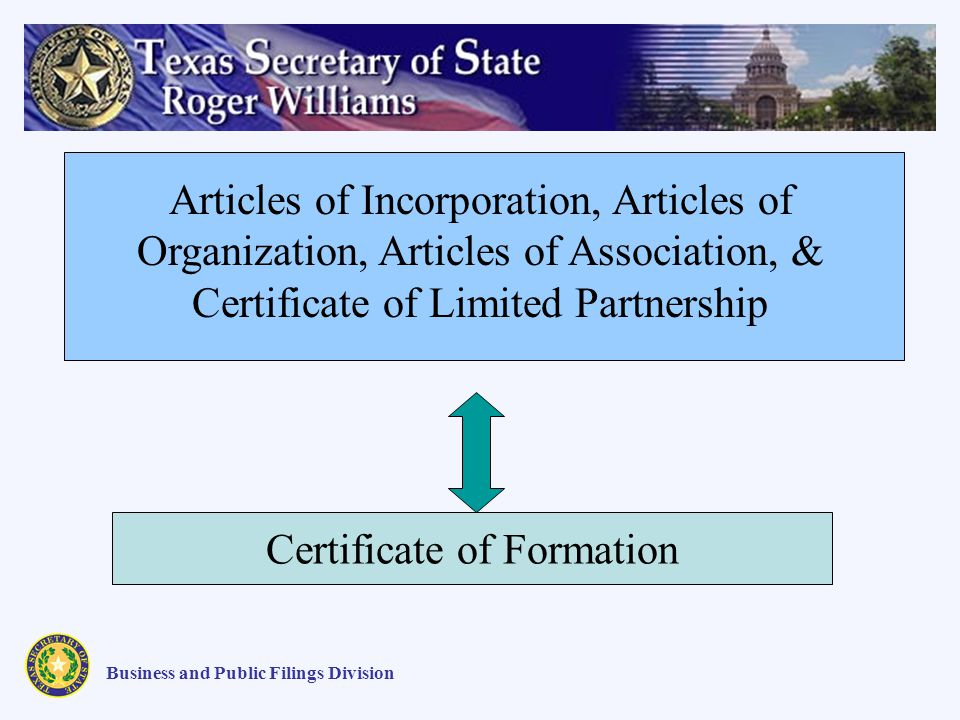 Articles of Incorporation, Articles of Organization, Articles of Association, & Certificate of Limited Partnership Business and Public Filings Division Certificate of Formation