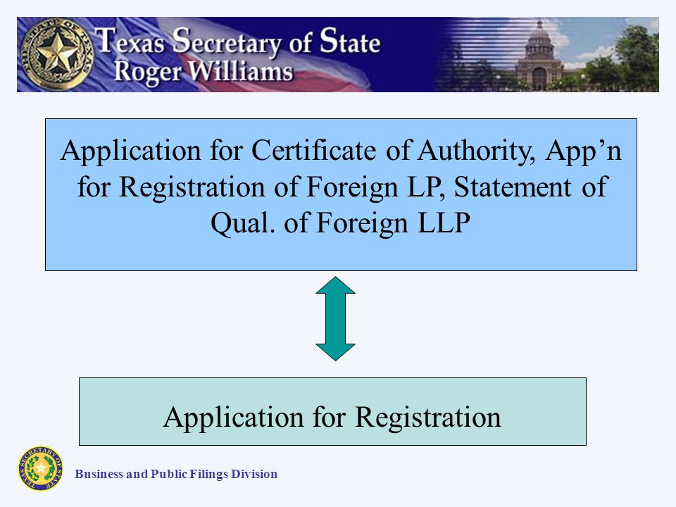 Application for Certificate of Authority, Appn for Registration of Foreign LP, Statement of Qual.