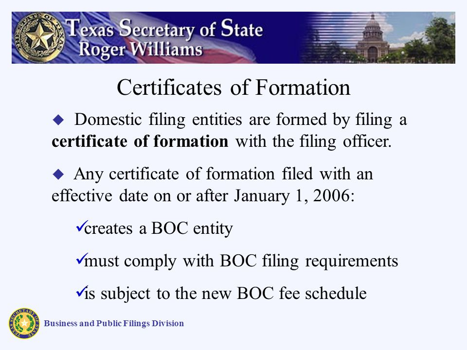 Business and Public Filings Division Certificates of Formation Domestic filing entities are formed by filing a certificate of formation with the filing officer.