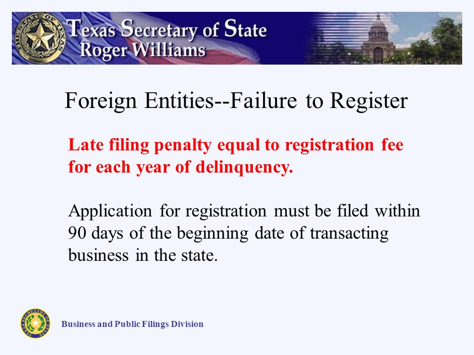 Business and Public Filings Division Foreign Entities--Failure to Register Late filing penalty equal to registration fee for each year of delinquency.