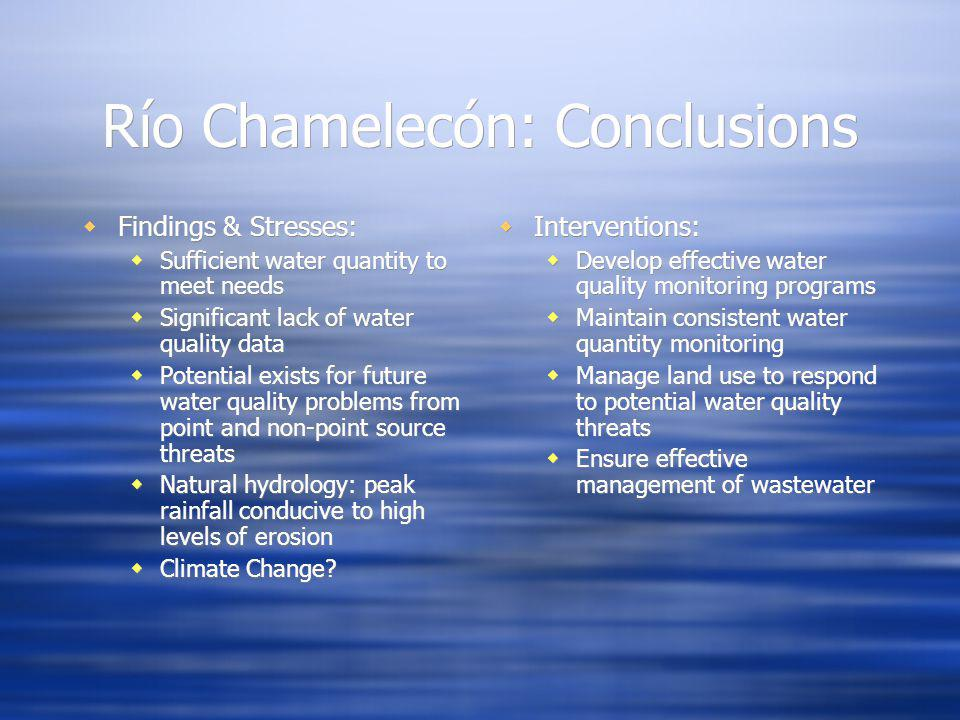 Río Chamelecón: Conclusions Findings & Stresses: Sufficient water quantity to meet needs Significant lack of water quality data Potential exists for future water quality problems from point and non-point source threats Natural hydrology: peak rainfall conducive to high levels of erosion Climate Change.