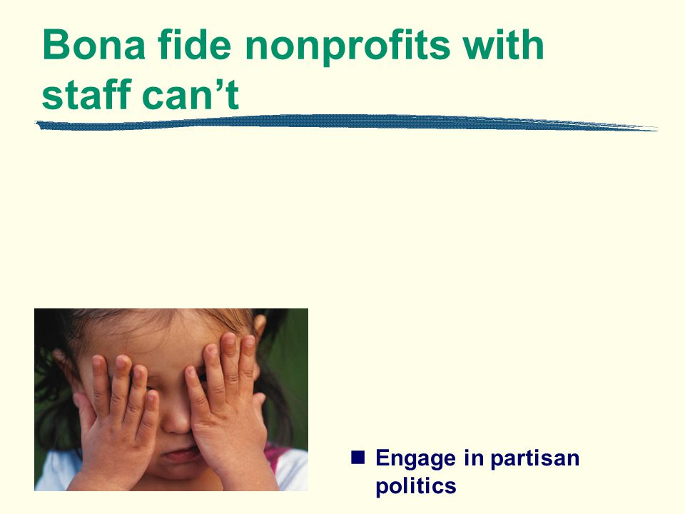 Bona fide nonprofits with staff cant Engage in partisan politics