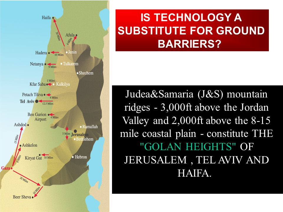 Most of Israel s reservist infrastructure is located in the narrow waistline of Jerusalem-Tel Aviv-Haifa area (70% population, 80% industry and finance, key fuel depots and intersections), which is dominated by the J&S mountain ridges.