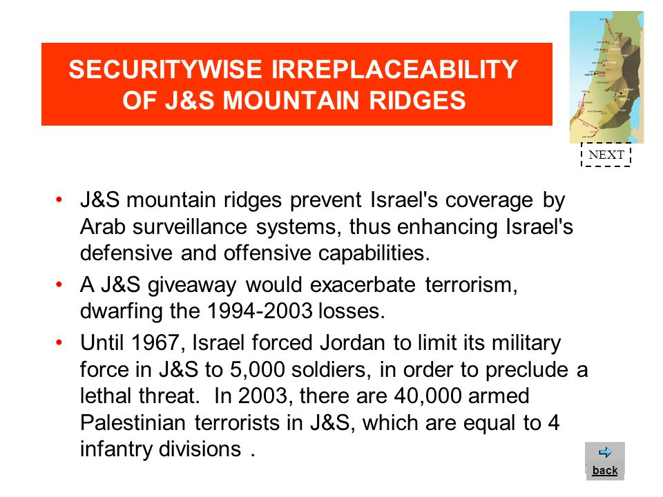 SECURITYWISE IRREPLACEABILITY OF J&S MOUNTAIN RIDGES The eastern mountain ridge of J&S - rather than the Jordan Valley - constitutes one of the world s best tank barriers (a 3,000ft steep slope over the Jordan Valley).