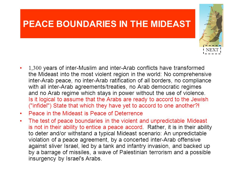 PEACE BOUNDARIES IN THE MIDEAST Judea&Samaria (J&S) mountain ridges - 3,000ft above the Jordan Valley and 2,000ft above the 8-15 mile coastal plain - constitute THE GOLAN HEIGHTS OF JERUSALEM, TEL AVIV AND HAIFA.
