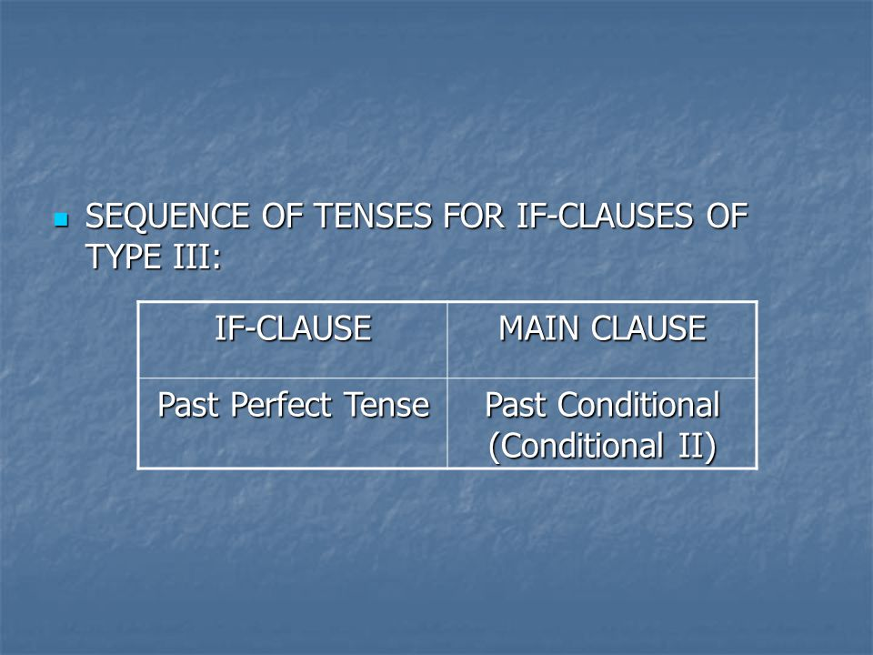 SEQUENCE OF TENSES FOR IF-CLAUSES OF TYPE III: SEQUENCE OF TENSES FOR IF-CLAUSES OF TYPE III: IF-CLAUSE MAIN CLAUSE Past Perfect Tense Past Conditional (Conditional II)