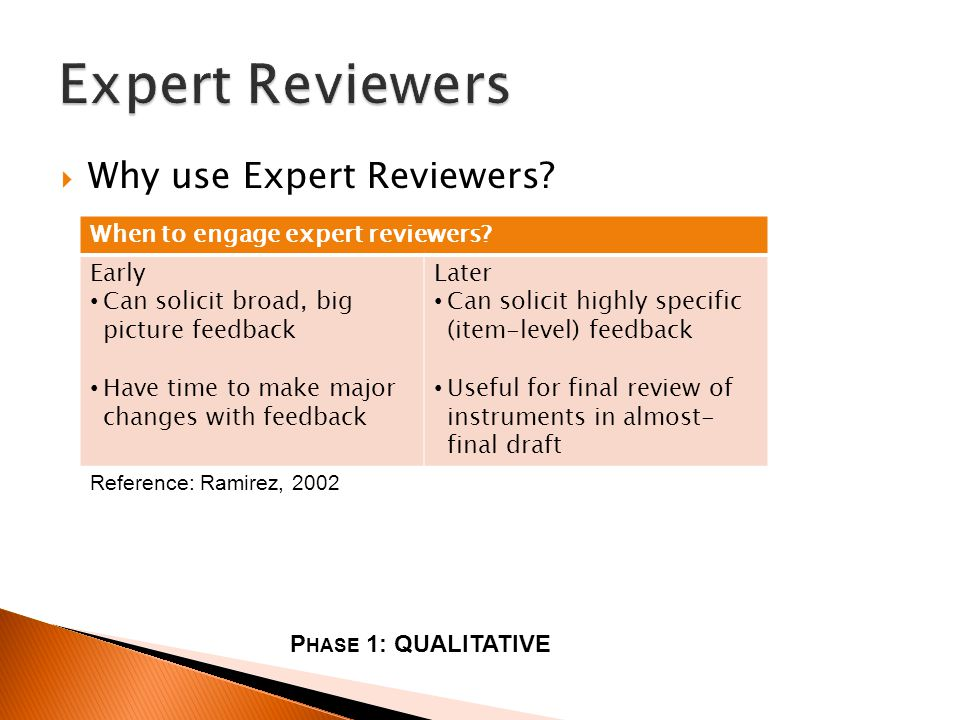 Why use Expert Reviewers. P HASE 1: QUALITATIVE When to engage expert reviewers.