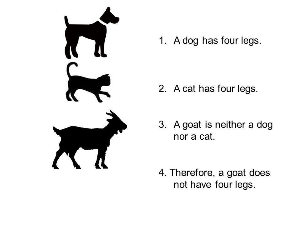 1.A dog has four legs. 2.A cat has four legs. 3.A goat is neither a dog nor a cat.