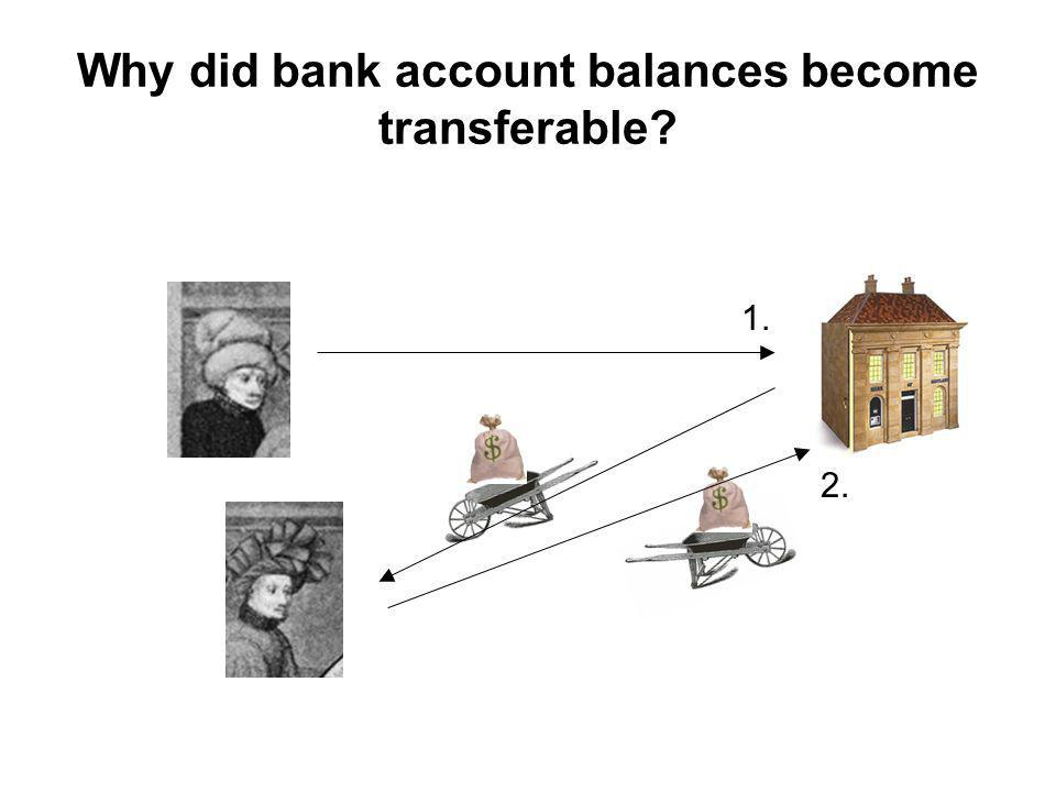 1. 2. Why did bank account balances become transferable