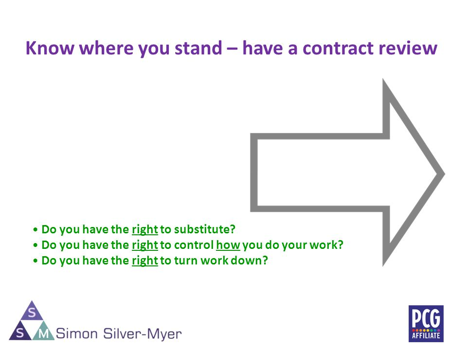 Do you have the right to substitute. Do you have the right to control how you do your work.
