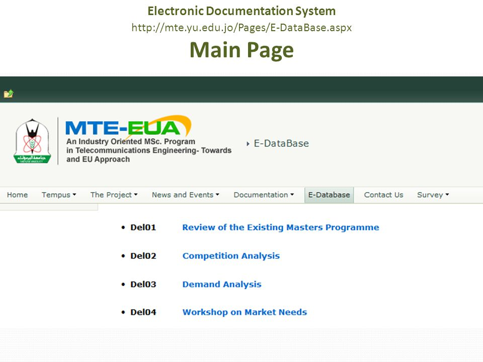 Electronic Documentation System http://mte.yu.edu.jo/Pages/E-DataBase.aspx Main Page