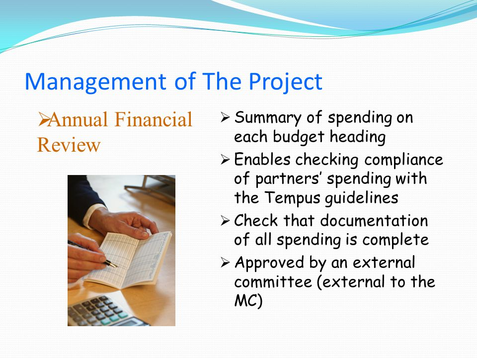 Annual Financial Review Summary of spending on each budget heading Enables checking compliance of partners spending with the Tempus guidelines Check that documentation of all spending is complete Approved by an external committee (external to the MC) Management of The Project