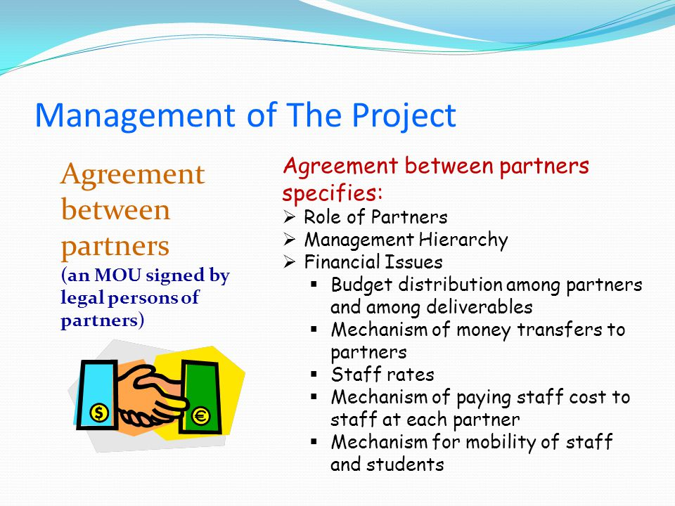 Agreement between partners (an MOU signed by legal persons of partners) Agreement between partners specifies: Role of Partners Management Hierarchy Financial Issues Budget distribution among partners and among deliverables Mechanism of money transfers to partners Staff rates Mechanism of paying staff cost to staff at each partner Mechanism for mobility of staff and students Management of The Project