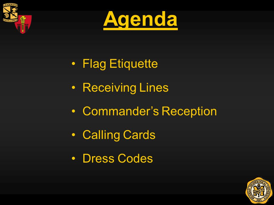 Agenda Flag Etiquette Receiving Lines Commanders Reception Calling Cards Dress Codes