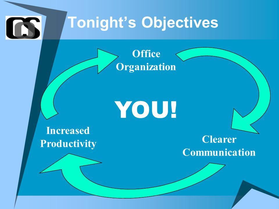 Tonights Objectives Office Organization Clearer Communication Increased Productivity YOU!